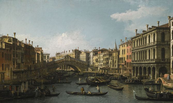 Giovanni Antonio Canal, called Canaletto Venice 1697 – 1768 Venice, a view of the Piazza San Marco looking East towards the Basilica and the Campanile; Venice, a view of the Grand Canal and the Rialto Bridge each: 46.5 by 77.1 cm. Est. £8-12 million