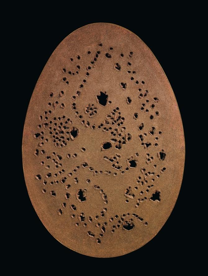 Lucio Fontana Concetto spaziale, La fine di Dio oil and glitter on canvas 178 x 123 cm Executed in 1963. Estimate: $15,000,000-20,000,000
