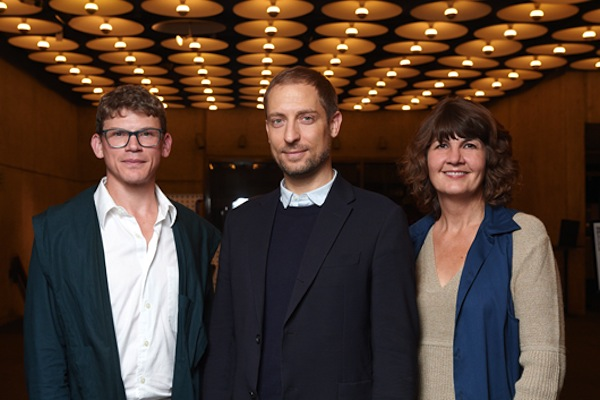 2014 Whitney Biennial curators Anthony Elms, Stuart Comer, and Michelle Grabner. Photograph by Filip Wolak