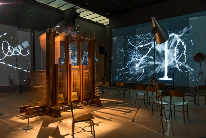 The Refusal of Time (installation view at The Metropolitan Museum of Art, New York), 2012. Five-channel video with sound, megaphones, and breathing machine ('elephant'), 30 minutes
