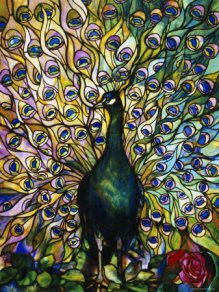ANP31038447601-CT~Fine-Peacock-Leaded-Glass-Domestic-Window-Posters